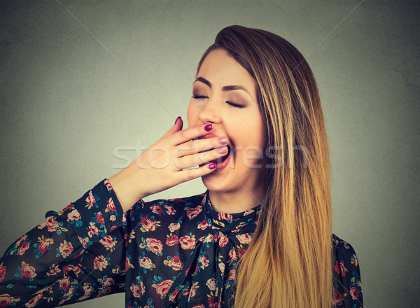 It is too early for meeting. Sleepy woman yawning looking bored.  Stock photo © ichiosea