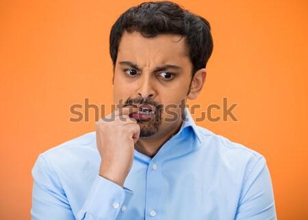 Férfi érzékeny fog fájdalom közelkép portré Stock fotó © ichiosea