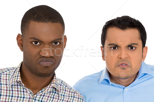 Stock photo: displeased pissed off angry grumpy men