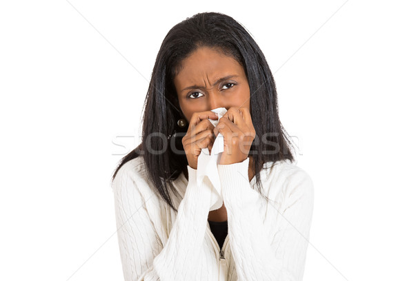 sick young woman with allergy, germs, cold, blowing nose Stock photo © ichiosea