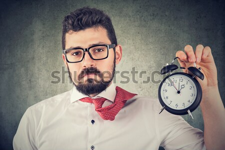 Angry screaming, child, boy holding alarm clock Stock photo © ichiosea