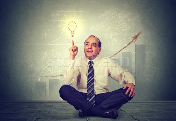 Business man teacher with successful bright idea  Stock photo © ichiosea