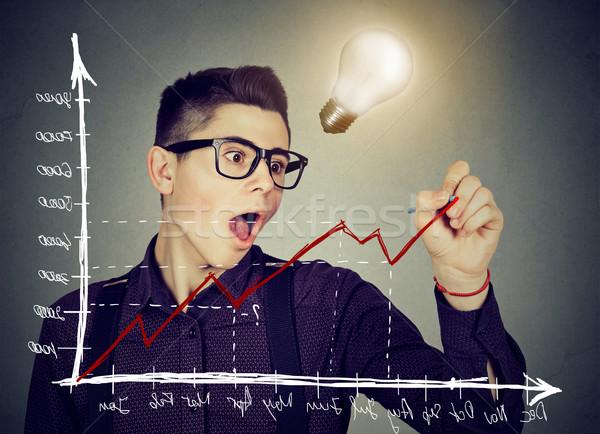 Hombre de negocios positivo tendencia gráfico brillante idea Foto stock © ichiosea