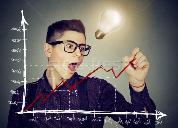 business man charting a positive trend graph has bright idea  Stock photo © ichiosea