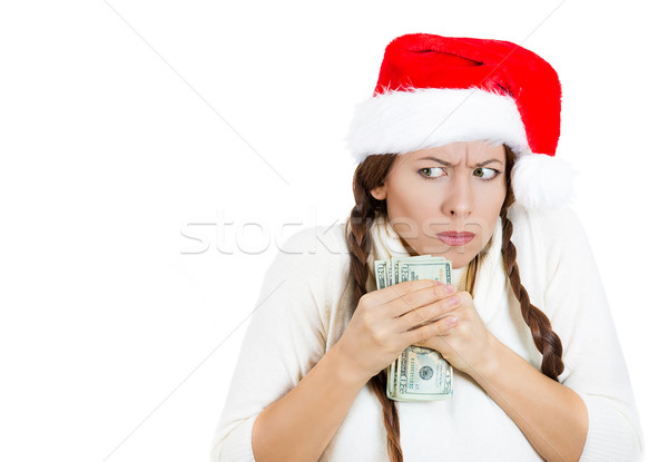 Greedy, grumpy christmas girl, possessive of her money Stock photo © ichiosea