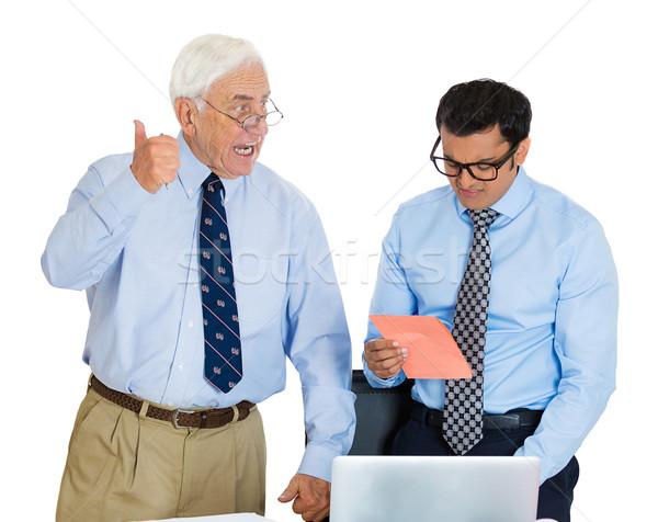 Empleado primer plano retrato edad ancianos hombre de negocios Foto stock © ichiosea