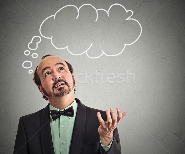 Férfi figyelmes arc buborék fölött fej Stock fotó © ichiosea