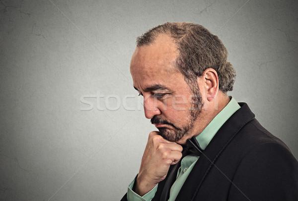 Triest onzeker zakenman denken zijaanzicht Stockfoto © ichiosea