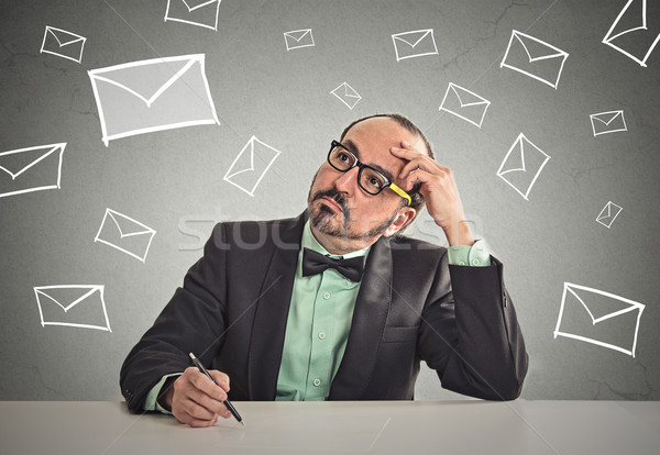 man sitting at table waiting for life changing email job interview letter Stock photo © ichiosea