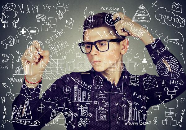 Inteligente cara escrita matemática ciência Foto stock © ichiosea