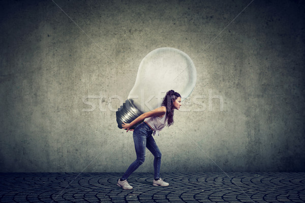 woman with business idea light bulb on her back Stock photo © ichiosea