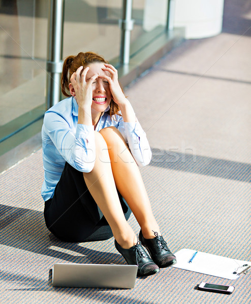 Stressed business woman sitting on a floor Stock photo © ichiosea