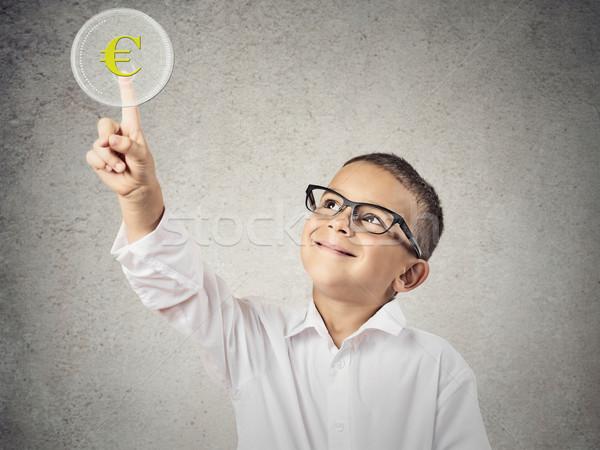 Fiú megérint citromsárga Euro valuta felirat Stock fotó © ichiosea