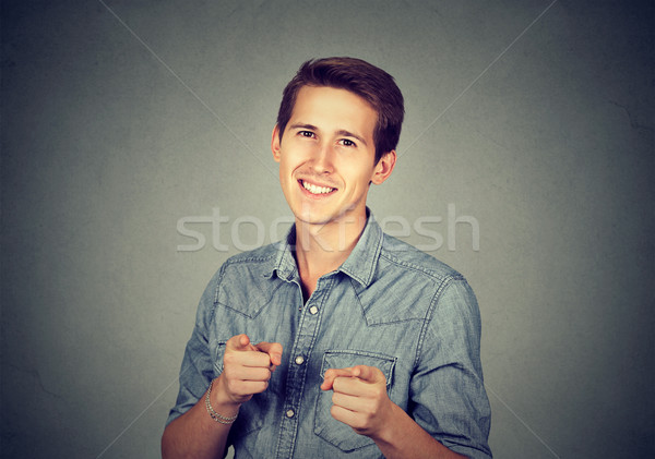 man giving thumbs up pointing fingers at camera picking you  Stock photo © ichiosea