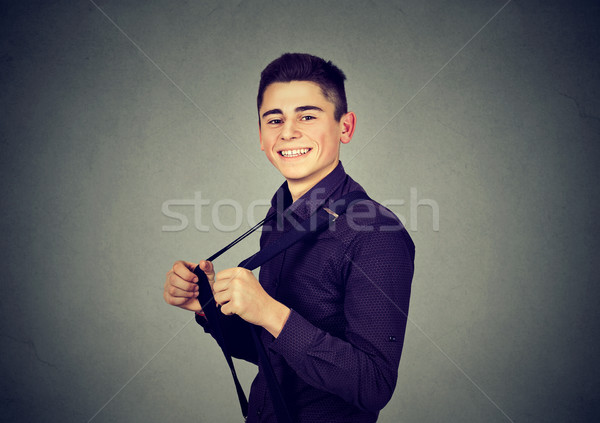 funny handsome man pulling his suspenders Stock photo © ichiosea