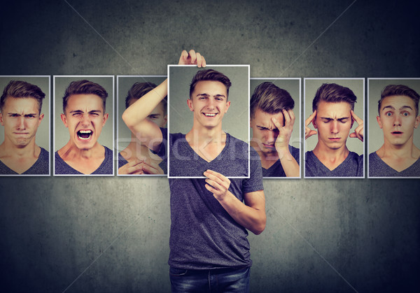 Masked man expressing different emotions  Stock photo © ichiosea