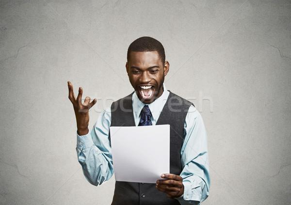 Stock fotó: Izgatott · boldog · férfi · tart · irat · hírek