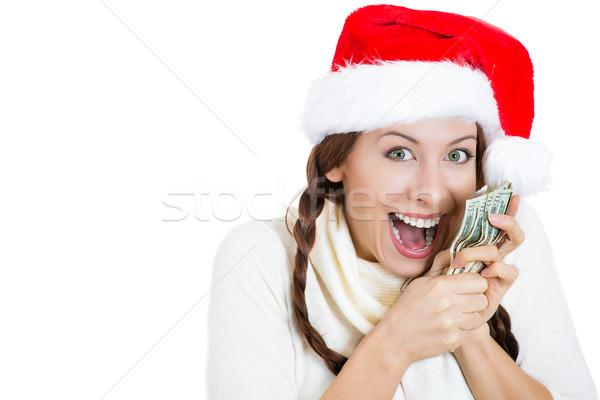 Stock fotó: Boldog · karácsony · nő · tart · dollár · bankjegyek · pénz
