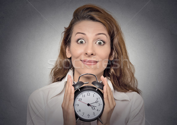 business woman holding alarm clock waiting Stock photo © ichiosea