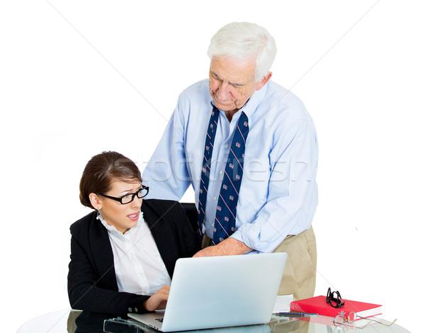 Főnök titkárnő közelkép portré idős idős Stock fotó © ichiosea