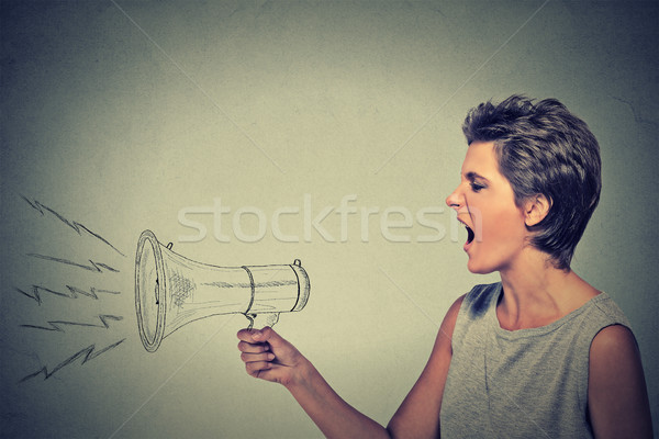 angry young woman screaming with megaphone Stock photo © ichiosea