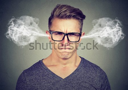 Closeup portrait of angry young woman, blowing steam coming out of ears  Stock photo © ichiosea