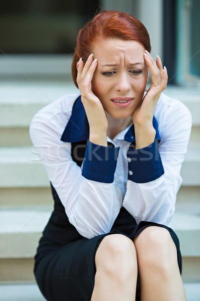 портрет деловая женщина головная боль несчастный Сток-фото © ichiosea