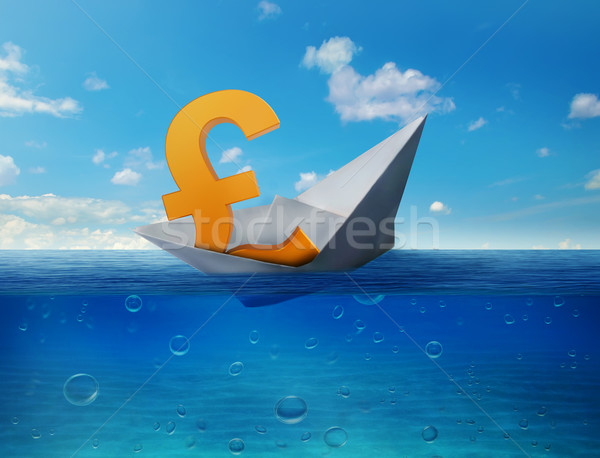 Pound sinking in sea symbol of future UK economy depression recession economic downturns. Results of Stock photo © ichiosea