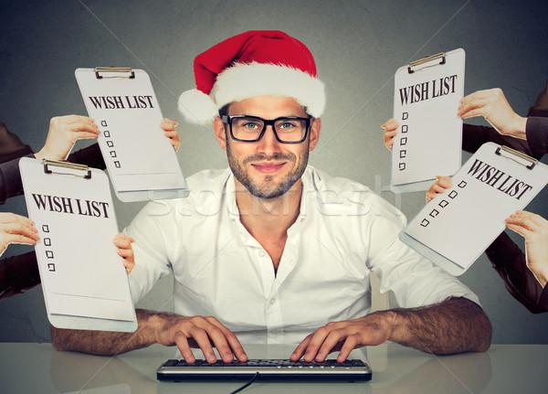 Christmas man hoed geschenk kopen Stockfoto © ichiosea