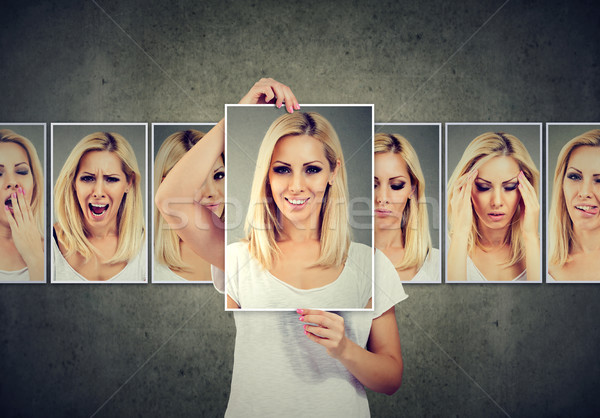 Masked blonde young woman expressing different emotions Stock photo © ichiosea