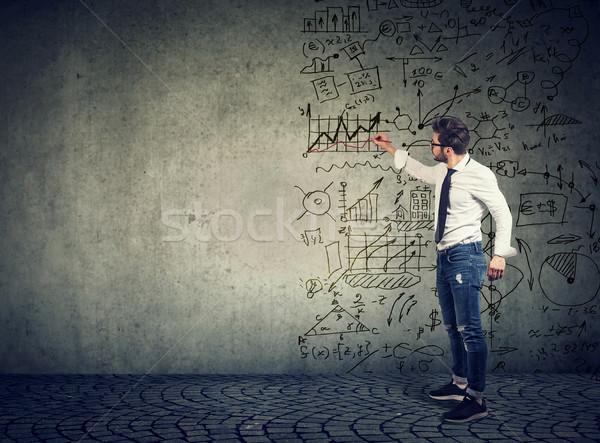 üzletember áll rajz üzlet ötletek férfi Stock fotó © ichiosea