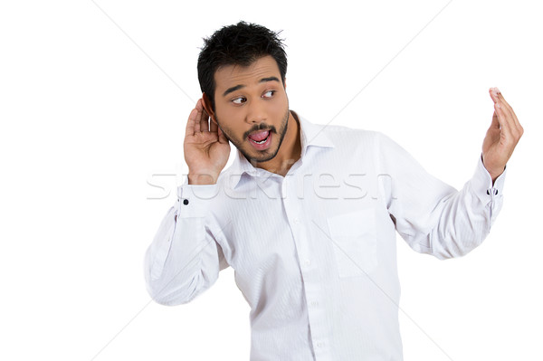 man inviting his friends to listen to gossip Stock photo © ichiosea