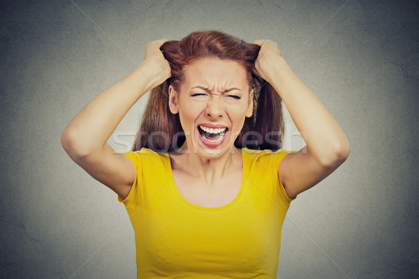 stressed woman, employee having bad day too many things to do screaming  Stock photo © ichiosea