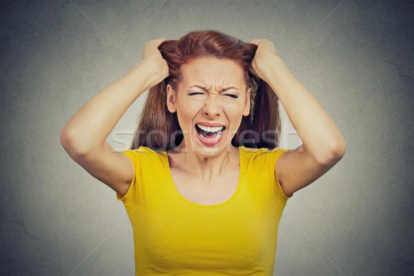 Vrouw werknemer slechte dag veel Stockfoto © ichiosea