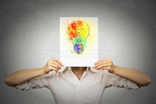 Mujer colorido bombilla cara brillante idea Foto stock © ichiosea