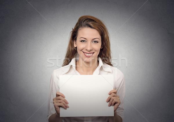 Femme carte vierge bannière blanche papier Photo stock © ichiosea