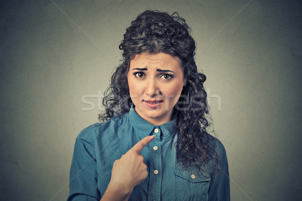 angry annoyed woman, getting mad asking question you talking to me, mean me? Stock photo © ichiosea