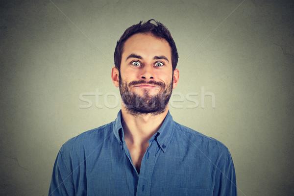Crazy schauen Mann funny Gesichter Stock foto © ichiosea