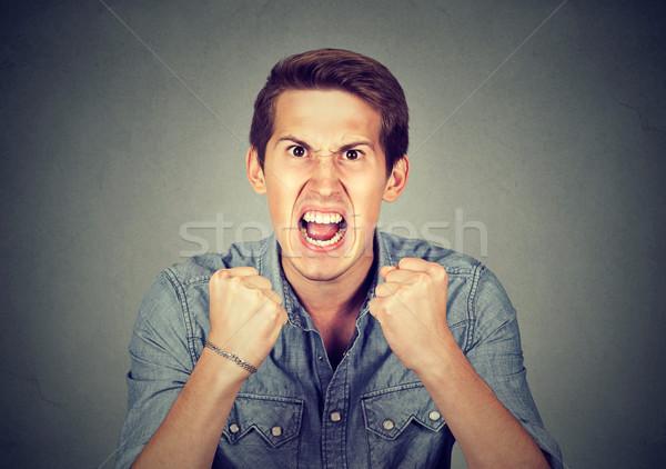 肖像 小さな 怒っ 男 頭 痛み ストックフォト © ichiosea