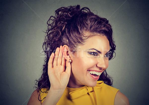 Kadın el kulak dinleme dikkatlice gülümseyen kadın Stok fotoğraf © ichiosea