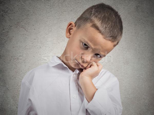 Szomorú lehangolt fáradt gyermek közelkép portré Stock fotó © ichiosea
