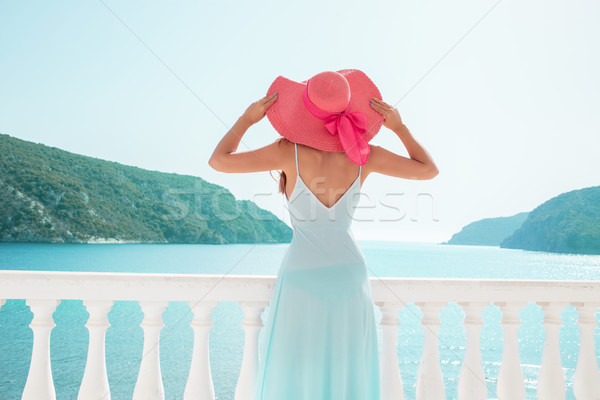 Европа Греция путешествия отпуск женщину глядя Сток-фото © ichiosea
