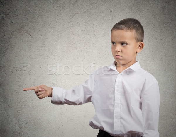 Unhappy boy pointing finger at someone, something Stock photo © ichiosea