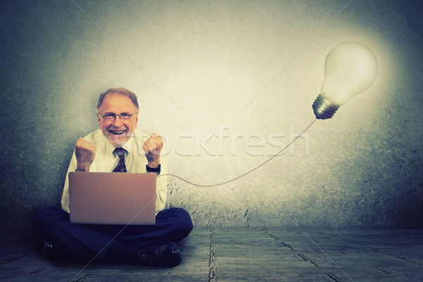 Senior man working on computer with light bulb plugged in it celebrates business success Stock photo © ichiosea