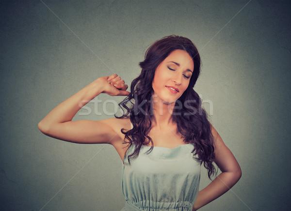 Somnolent jeune femme affaires visage travaux signe Photo stock © ichiosea