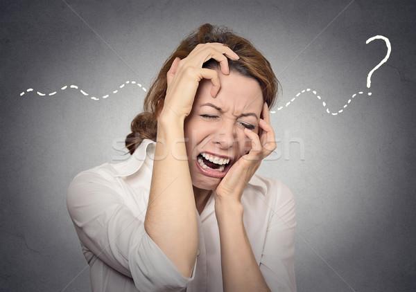 Question stress désespoir affaires fille mur Photo stock © ichiosea
