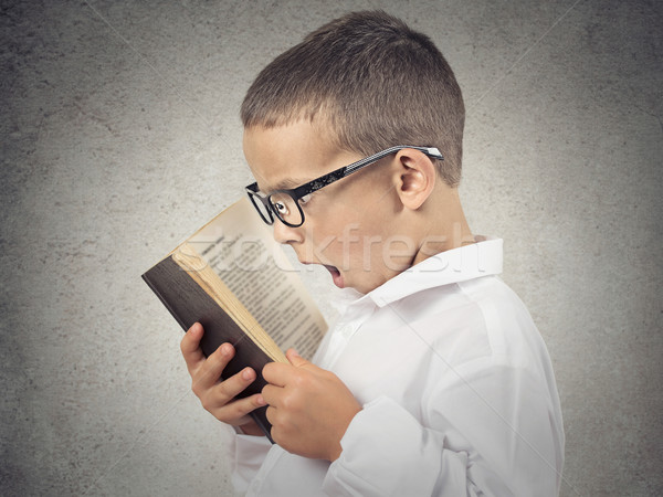 Surprised boy, little man reading book Stock photo © ichiosea