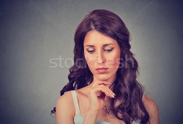 Mulher triste menina parede modelo retrato Foto stock © ichiosea