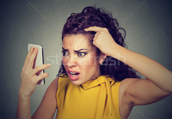 Zaklatott nő meglepődött haj kopaszodó halánték közelkép Stock fotó © ichiosea