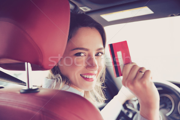 счастливым сидят внутри Новый автомобиль Сток-фото © ichiosea